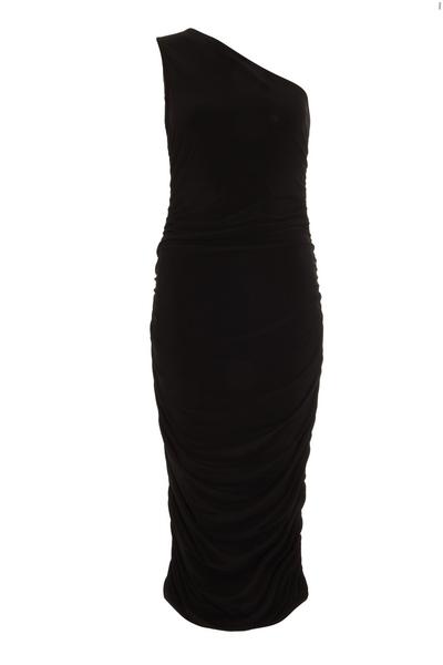 Petite Black One Shoulder Midaxi Dress